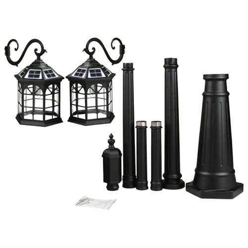 8 feet high outdoor solar lamp post with two heads and LED Lights SL-3801black2.45m 1