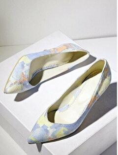 Pyf♥歐美風粉色系渲染絨面彩繪尖頭細跟高跟鞋43大尺碼女鞋