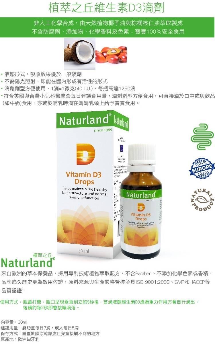 【Naturland植萃之丘】維生素D3滴劑(30ml/瓶)