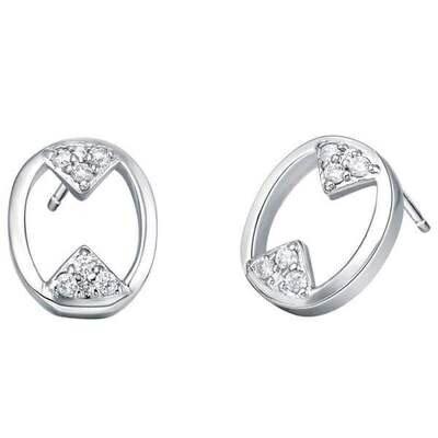 純銀耳環鍍白金鑲鑽耳飾~可愛 數字風格七夕情人節 女飾品73cz69~ ~~米蘭 ~