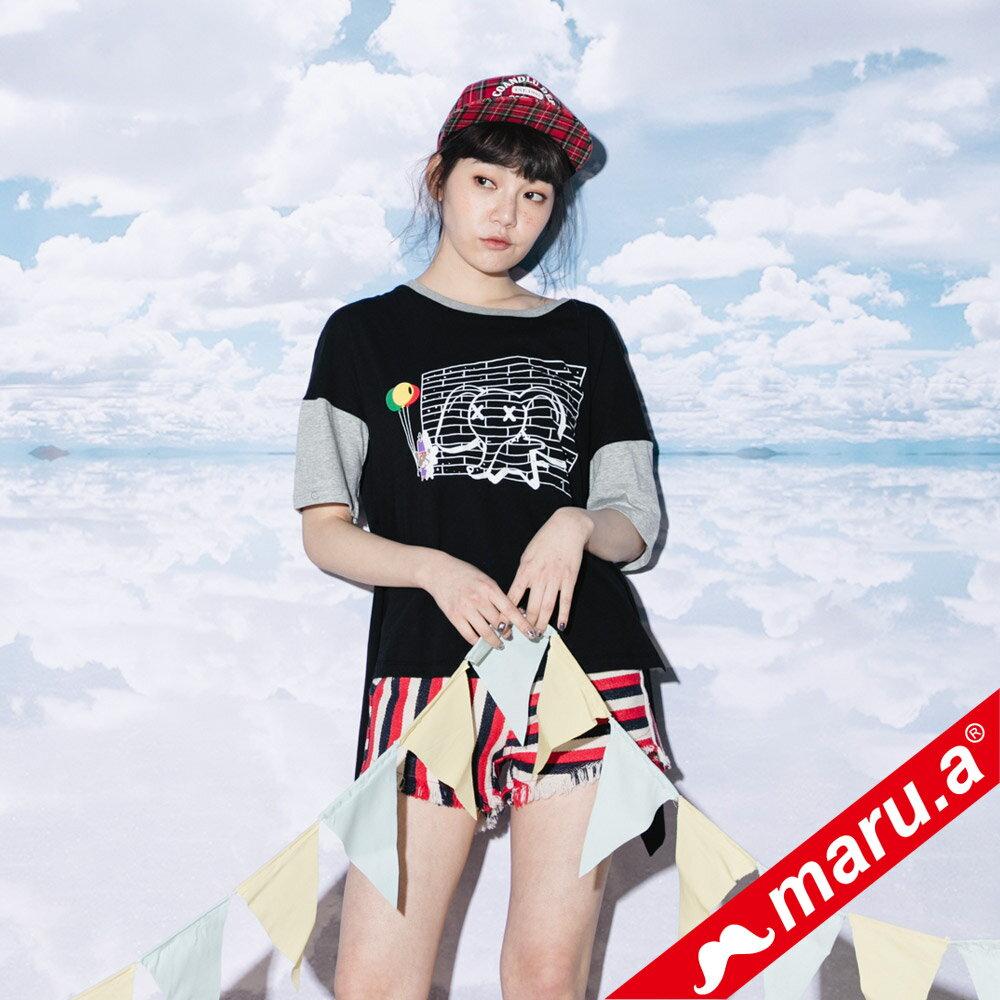 【maru.a】小飛象印花後開岔T-Shirt(2色)8311216 5