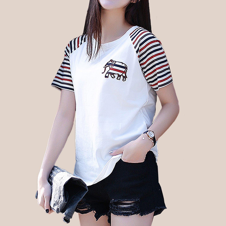 圓領T--運動休閒時尚拼接條紋袖大象剌繡棉質圓領短袖T恤(白.藍L-3L)-T319眼圈熊中大尺碼 0