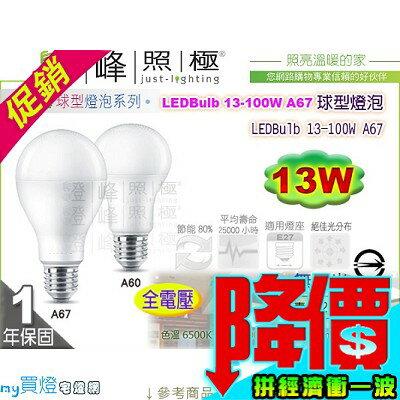 【PHILIPS飛利浦】LED燈泡 E27.LEDBulb 13W 球泡燈 舒視光 高亮度 替代27W 【燈峰照極my買燈】