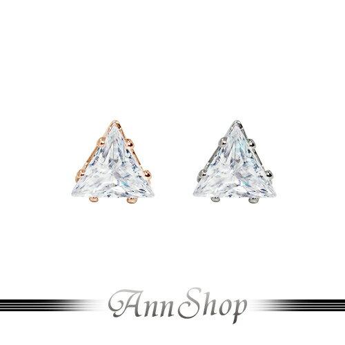 AnnShop~316L鋼‧立體三角鑽白鋼耳環~白鋼飾品  情人 e30150~e3015