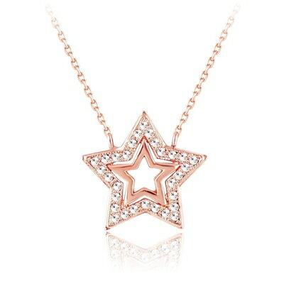 玫瑰金純銀項鍊 鑲鑽吊墜 ~星星 精緻七夕情人節生日 女飾品2色73bh26~ ~~米蘭