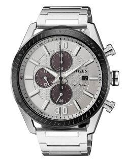 CITIZEN星辰CA0669-84A耀眼時尚光動能三眼計時腕錶銀+銀面43mm