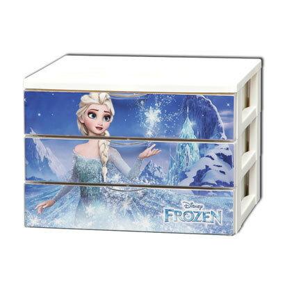 日本製迪士尼冰雪奇緣女王收納箱文件三層櫃CHG-T554代購海渡