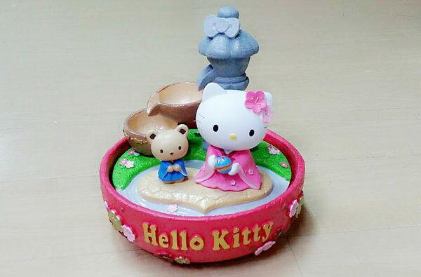 Hello Kitty 開運流水盆聚寶盆開店送禮最大方RT014海渡