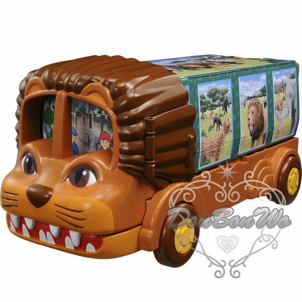 多美TOMY動物玩具模型收納盒置物盒獅子巴士808947海渡