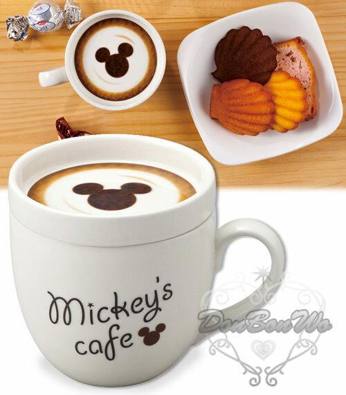 迪士尼米奇米妮杯子馬克杯咖啡杯陶瓷附拿鐵圖樣蓋奇234210妮234227