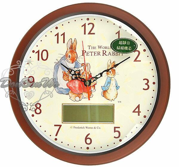 彼得兔指針時鐘壁掛式掛鐘LCD電子雙顯示圓081411海渡