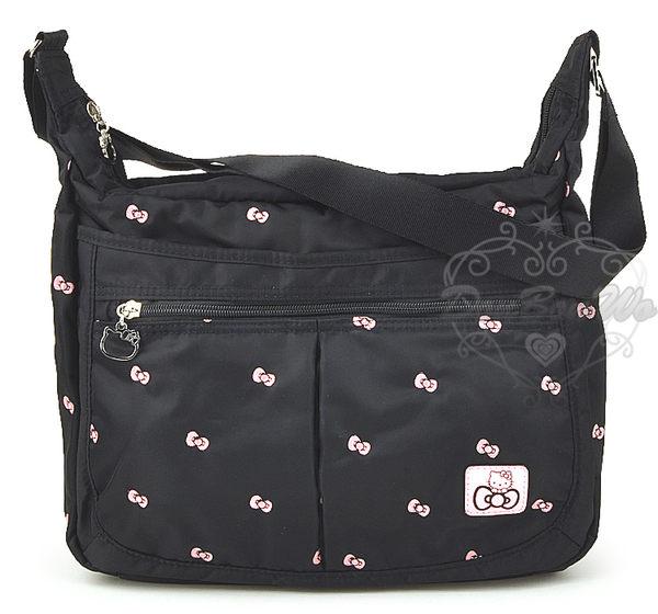 Hello Kitty 蝴蝶 多圖 黑色 側背包 ~大 590250海渡