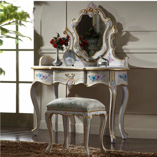 巴洛克歐式化妝台化妝椅彩繪桌子訂製010416代購海渡