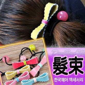 日韓系蝴蝶結髮束髮圈雙色多色050604海渡
