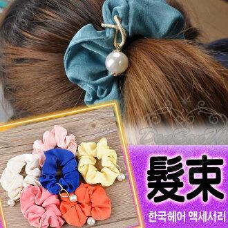 日韓系珍珠絨布髮束髮圈多色050528海渡