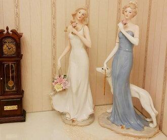 歐式陶瓷宮廷少女花花籃擺飾代購120631海渡