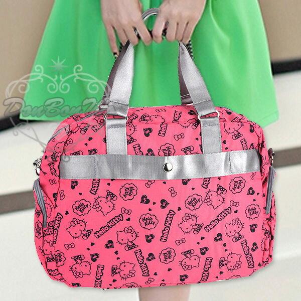 KITTY 旅行袋行李袋斜背包手提包桃色側坐愛心多圖091115海渡
