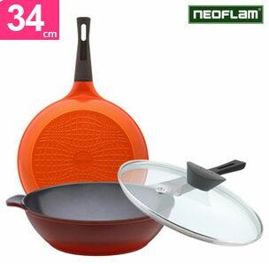 韓國NEOFLAMEela陶瓷不沾鍋炒鍋附鍋蓋34公分231517代購海渡