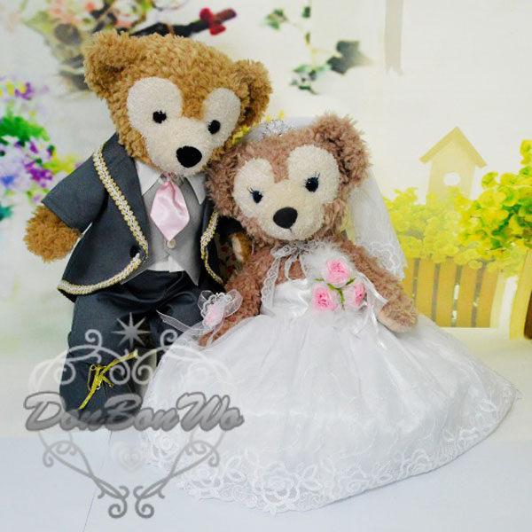 迪士尼海洋duffy 娃娃 ShellieMay 玩偶結婚禮服蕾絲裙灰西裝031113海渡