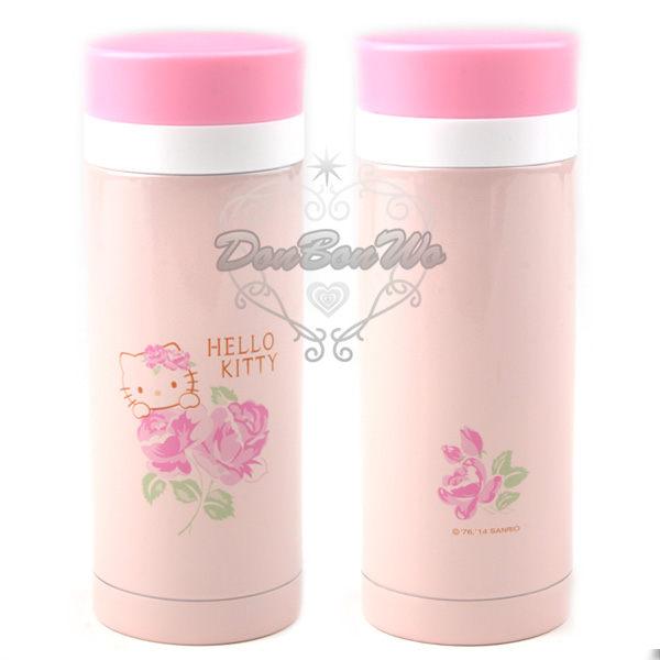 KITTY保溫瓶水壺隨身瓶不繡鋼200CC粉色玫瑰165448海渡