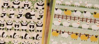 韓國連線 熊貓貼紙小羊草泥馬DIY手帳本貼871266海渡