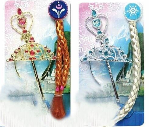 冰雪奇緣公主髮飾假髮仙女棒皇冠3件組合081669海渡