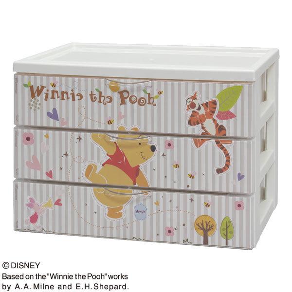 日本製迪士尼維尼熊收納箱文件三層櫃 CDC-A430A代購海渡