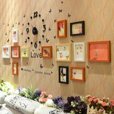 日韓客廳照片牆11框相框組合相片牆掛鐘時鐘混色083121代購海渡