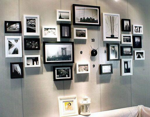 24框相片牆照片牆組合創意黑白款時鐘代購海渡
