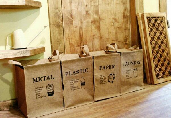 韓國連線洗衣籃zakka棉麻方款分類收納袋收納箱資源回收袋091481代購海渡