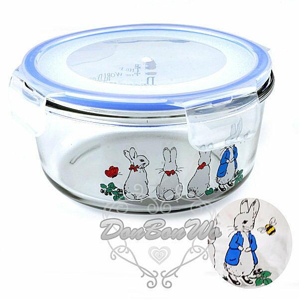 彼得兔收納盒保鮮盒1000ml耐熱圓形210101海渡