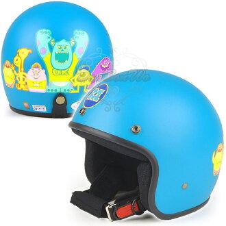 迪士尼怪獸大學大眼仔毛怪半罩式安全帽集合消光藍綠030503海渡