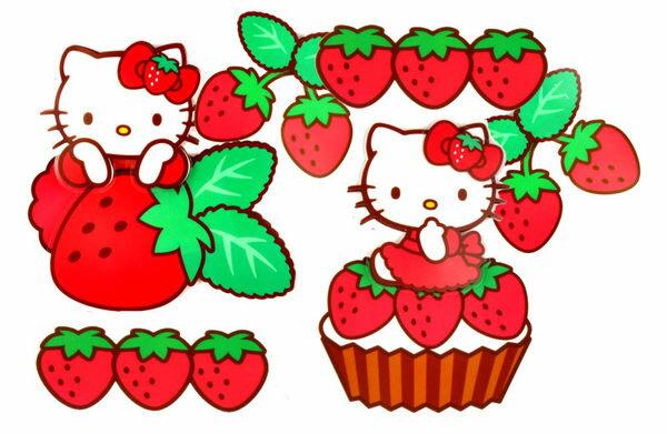 HELLO KITTY 璧貼玻璃貼紙草莓抽抽樂100504海渡