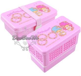 海渡-雙子星星圍繞折疊式雙層迷你午餐盒便當盒051116