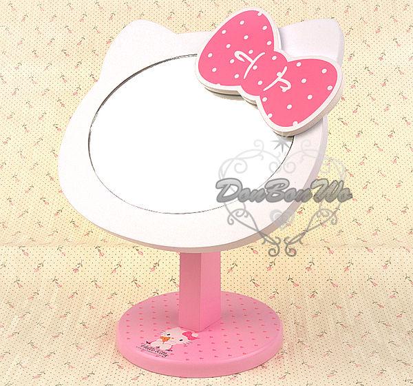 [美妝小物]KITTY化妝鏡台鏡子木製貓臉520182海渡
