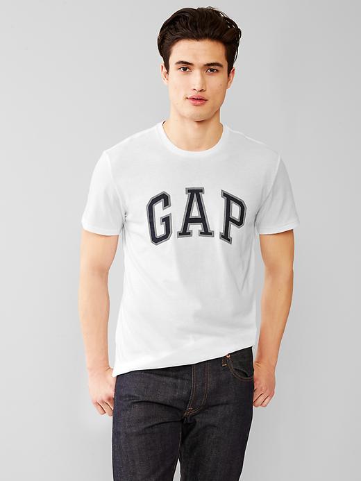 美國百分百【全新真品】GAP T恤 T-SHIRT 短袖 上衣 LOGO 圓領 白色 貼布 男 XS號 F215