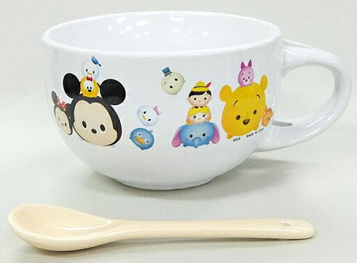 X射線【C010807】TsumTsum陶瓷湯杯附湯匙組景品 ,餐盤/餐碗/玻璃碗/陶瓷碗/交換禮物/迪士尼