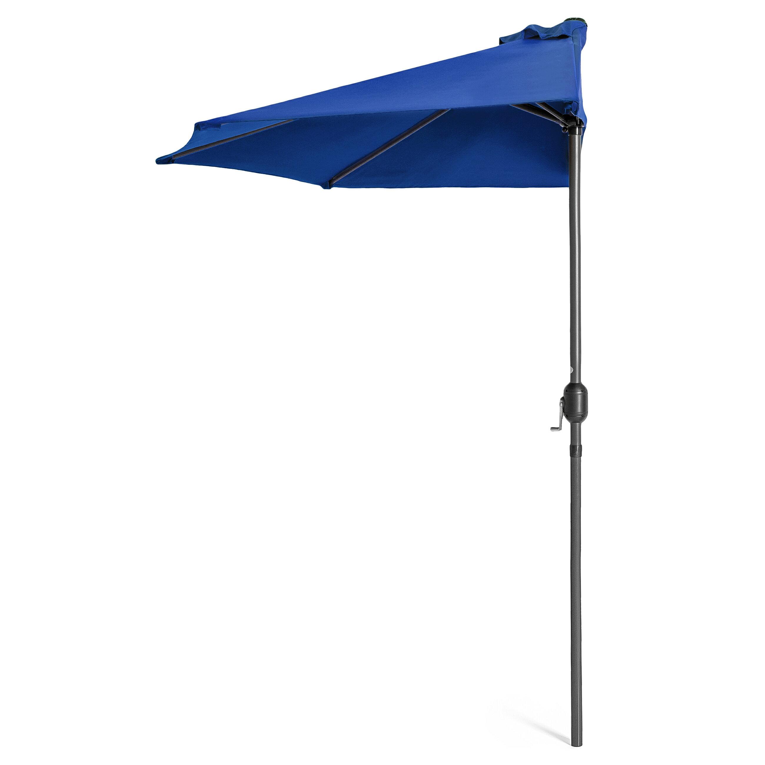 Best Choice Products 9ft Steel Half Patio Umbrella W/ Crank   Blue
