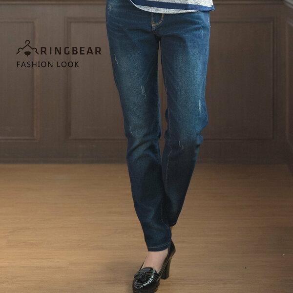 眼圈熊S-7L大小尺碼衣褲專賣:牛仔彈性長褲--經典個性風撞色壓線抓破彈性修長顯瘦丹寧直筒褲(藍M-3L)-C94眼圈熊中大尺碼