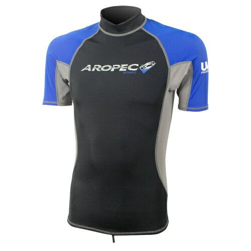 【【蘋果戶外】】AROPECSS-3K66M-BU(黑藍)男款短袖萊克衣台灣製亞洛沛專業四針剪裁抗UV