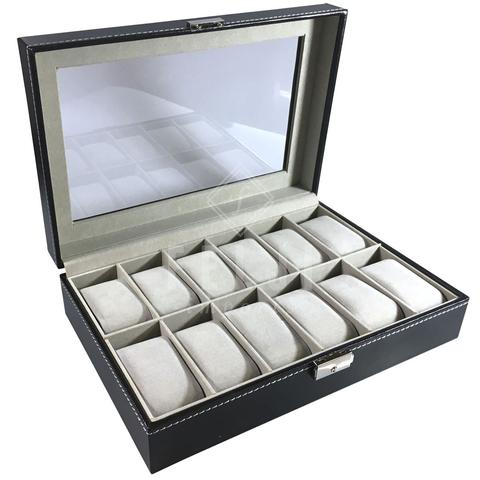 d6acd1071 Felji 12 Slot Watch Box Black Leather Display Glass Top Jewelry Case  Organizer + Lock 0