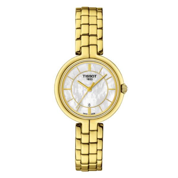 TISSOT天梭表T0942103311100FLAMINGO時尚女仕時尚腕錶珍珠母貝面26mm