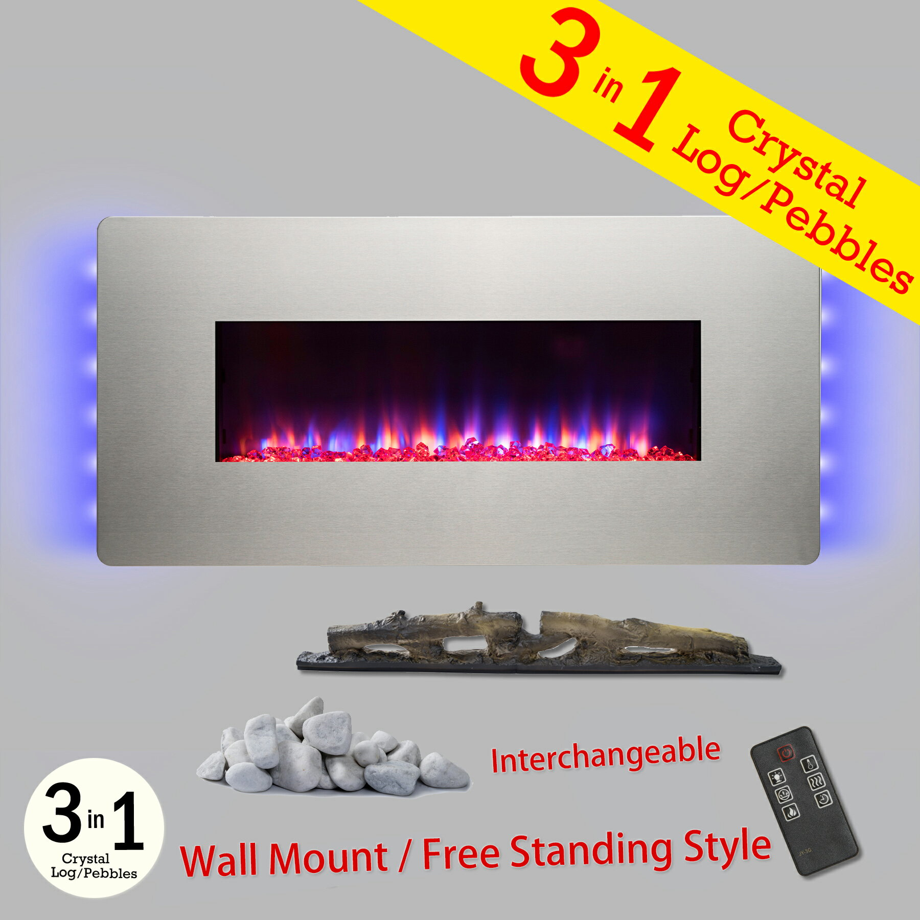 "36"" Freestanding & Wall Mount Convertible Electric Fireplace Stove Heater w/ Remote & Stand 0"
