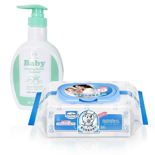 【奇買親子 網】貝恩Baan NEW嬰兒保養柔濕巾80抽24入 箱 台塑生醫Dr s Formula 嬰幼童奶瓶洗潔劑罐裝