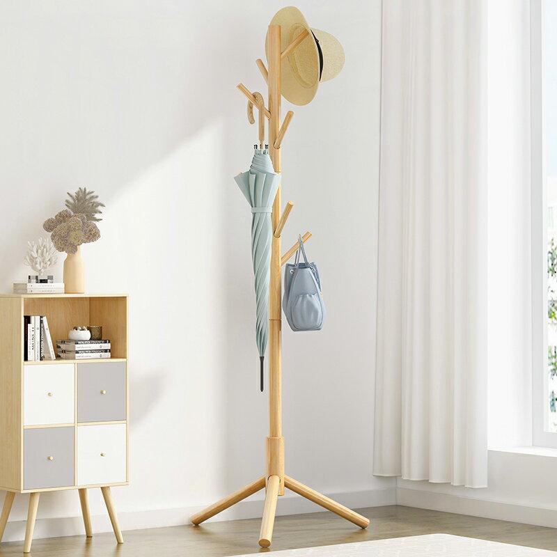 實木衣帽架落地掛衣架柜子簡易臥室家用衣服包置物簡約現代 小山好物