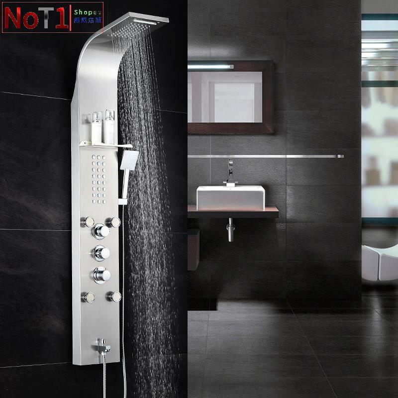 蓮蓬頭-304不銹鋼淋浴屏智能恒溫花灑套裝浴室掛墻式淋浴柱美式黑色花灑 愛尚優品 全館85折