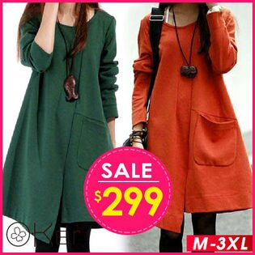 不規則寬鬆長袖連衣裙S-3XLO-Ker歐珂兒15867-C