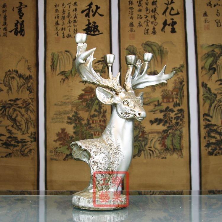 燭光晚餐燭台 樹脂蠟燭台 大型工藝品梅花鹿燭台