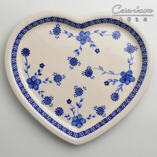 波蘭陶歐式青花系列愛心造型餐盤陶瓷盤菜盤水果盤點心盤波蘭手工製