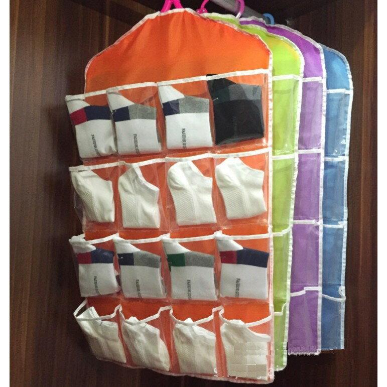 塔克網購 【16格衣架收納袋】透明16格衣櫃收納袋掛袋 多格衣架掛式收納袋 牆掛式襪子小物整理袋 隨機出貨 換季收納